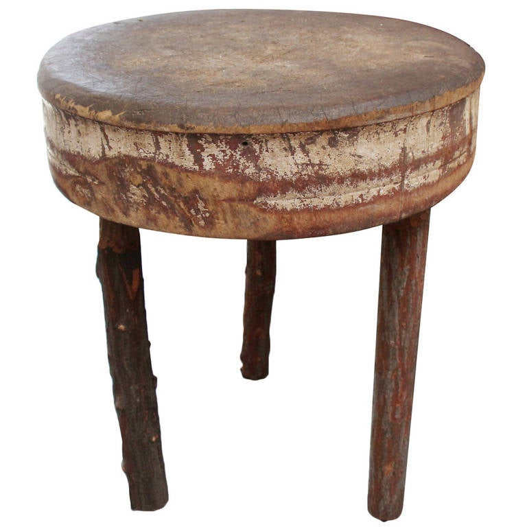 unusually tall primitive butcher block table for sale at