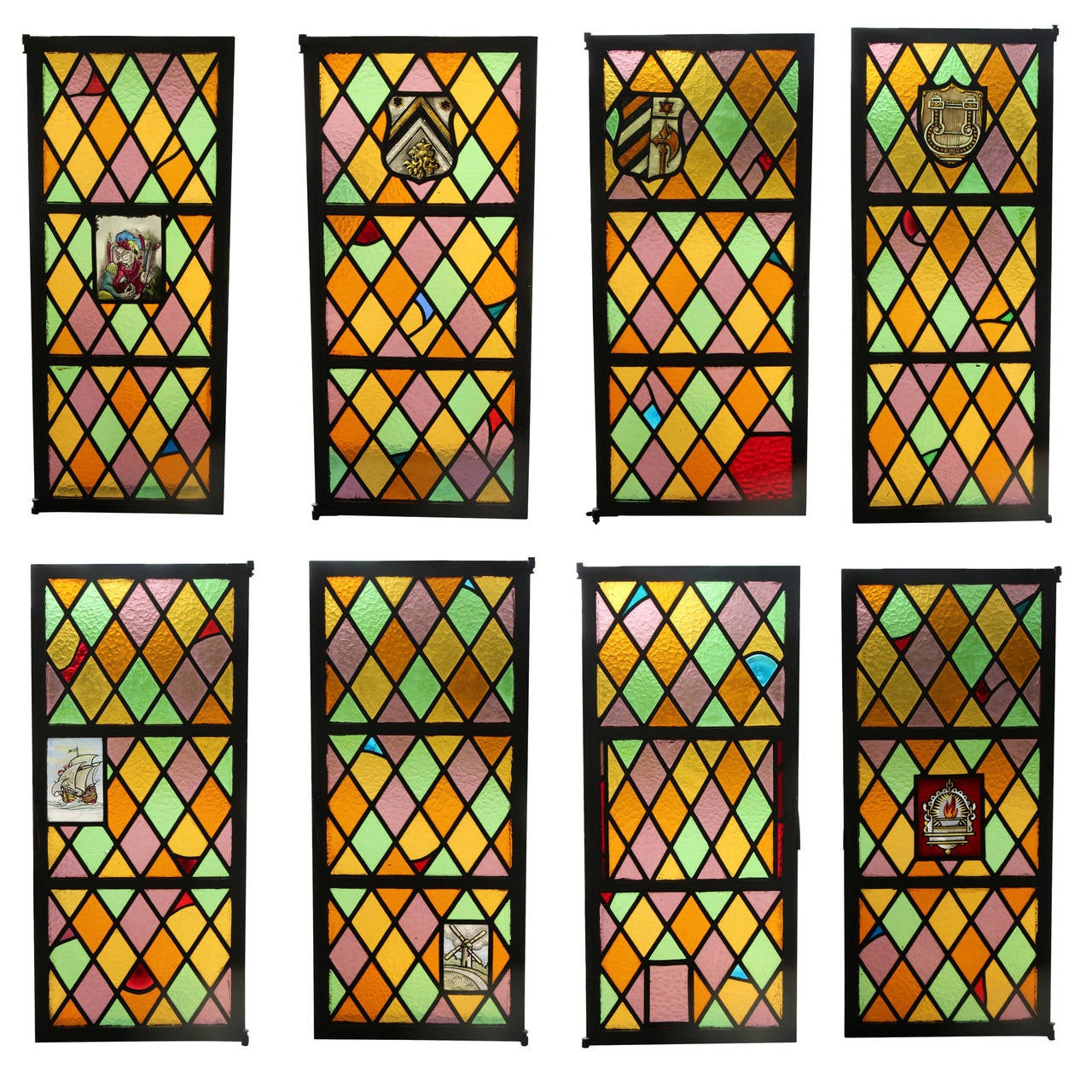 1920s set of eight steel stained glass windows from east for 1920s window
