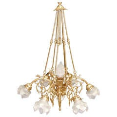 Six-Light Bronze Chandelier with Glass Shades