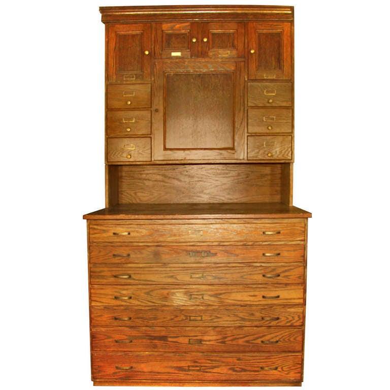 Antique American Chestnut Vestment Or Map Cabinet At 1stdibs