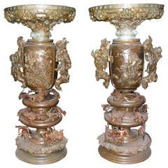 Pair of Bronze Japanese Urns
