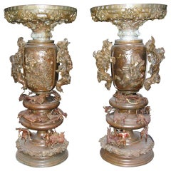 1880s Pair of Bronze Japanese Urns