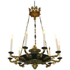 Two-Toned Empire Ten-Light Bronze Chandelier