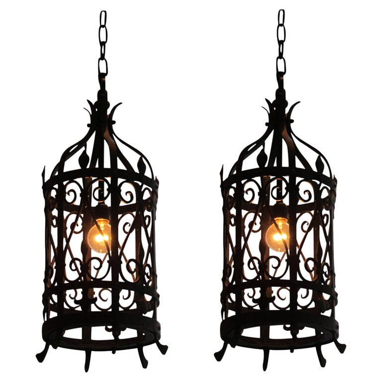 Handmade wrought iron and horn light fixture for sale at 1stdibs pair of wrought iron lantern light fixtures aloadofball Image collections