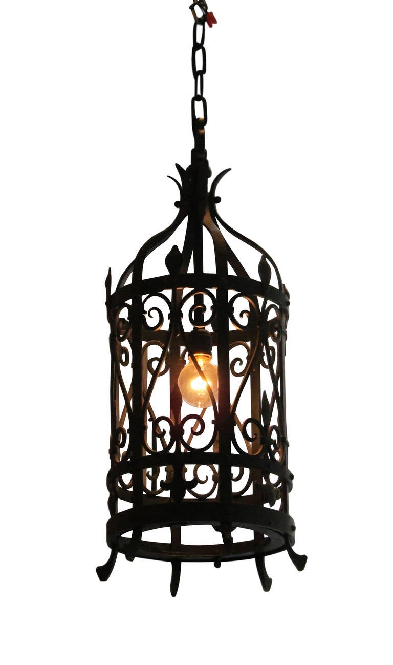 Pair Of Wrought Iron Lantern Light Fixtures For Sale At
