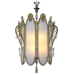 1930s Bronze Art Deco Grand Chandelier from an Old New York City Theater