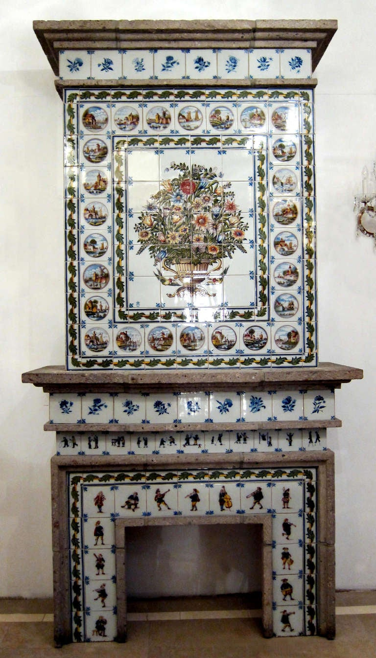 dutch tile fireplace mantel made by royal tichelaar of makkum for