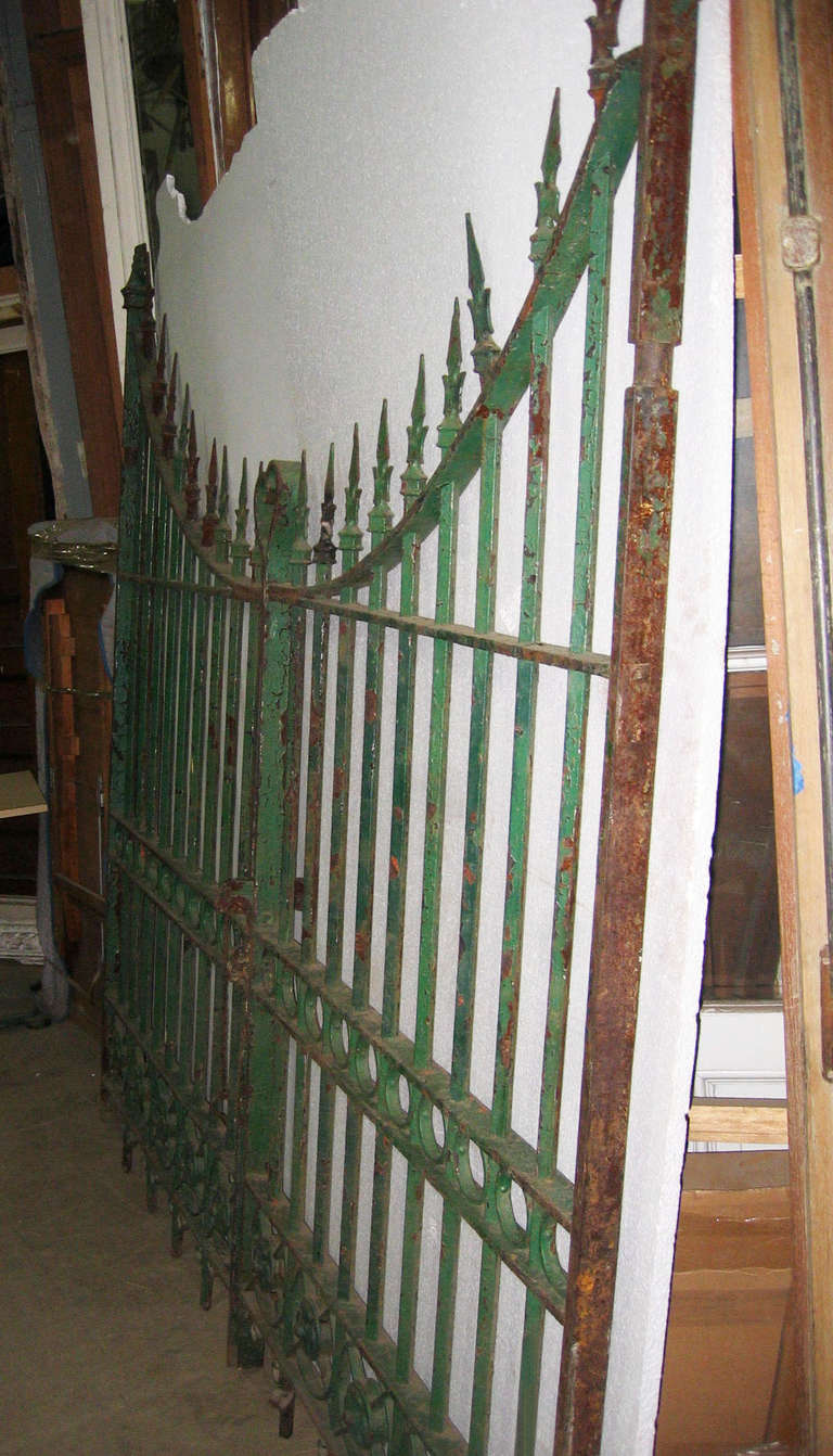 Pair of Wrought and Cast Iron Driveway Gates with French Arrow Finials 2