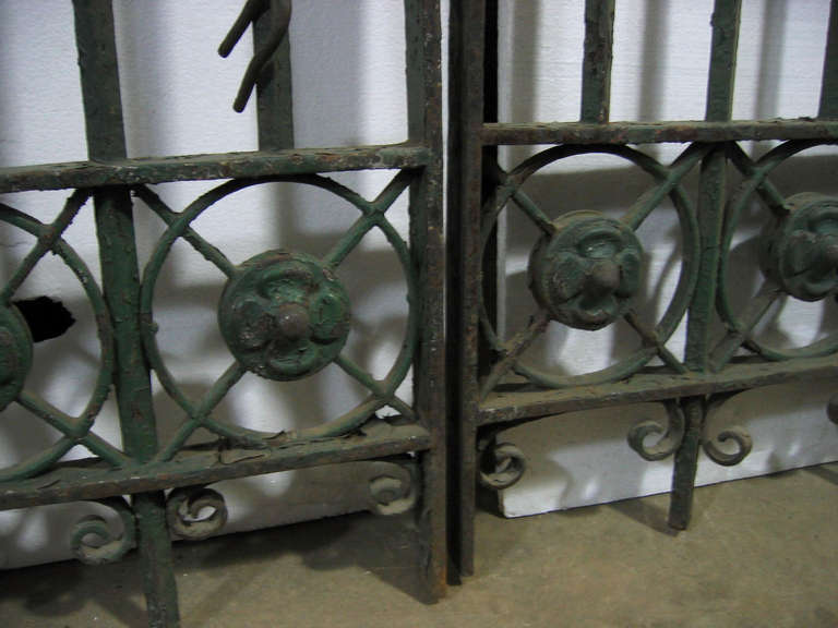 Pair of Wrought and Cast Iron Driveway Gates with French Arrow Finials 3