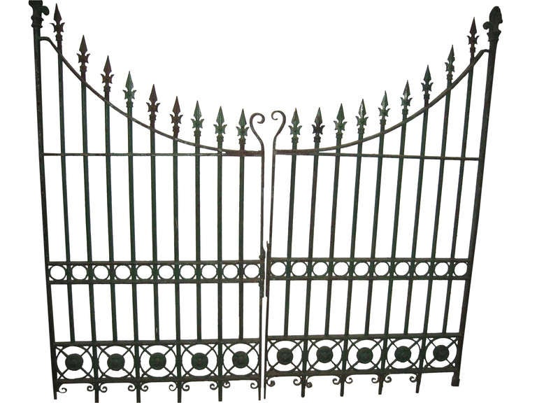 Pair of Wrought and Cast Iron Driveway Gates with French Arrow Finials 4