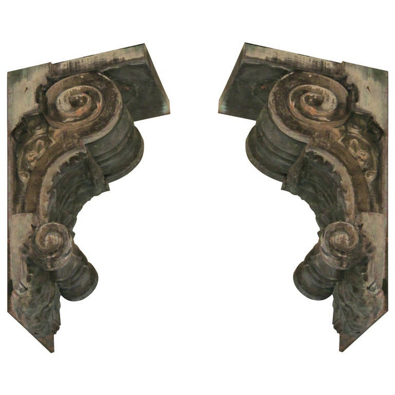 Exterior Wall Hardware : Pair of large exterior copper corbels from a th ave