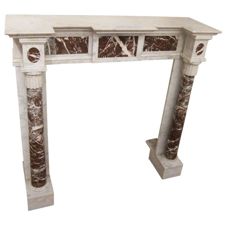 Small French Victorian Carrara Mantel With Columns For