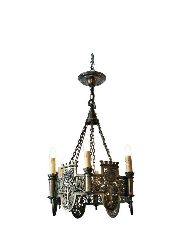 Beautifully Detailed Six-Light Bronze English Tudor Style Chandelier 2  sc 1 st  1stDibs & Beautifully Detailed Six-Light Bronze English Tudor Style ... azcodes.com