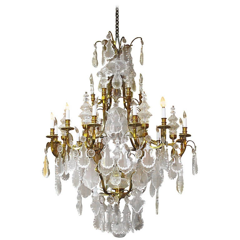 2017 Huge Baccarat Style Crystal Chandelier With Fleur De Lis Finials