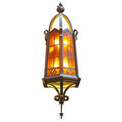 1960s Large Bronze American Craftsman Lantern with Dark Amber Glass and Canopy