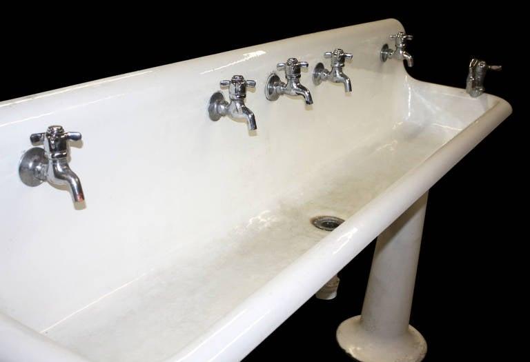 Two Leg Pedestal Sink : Industrial Porcelain Gang Sink on Pedestal Legs Without Hardware at ...