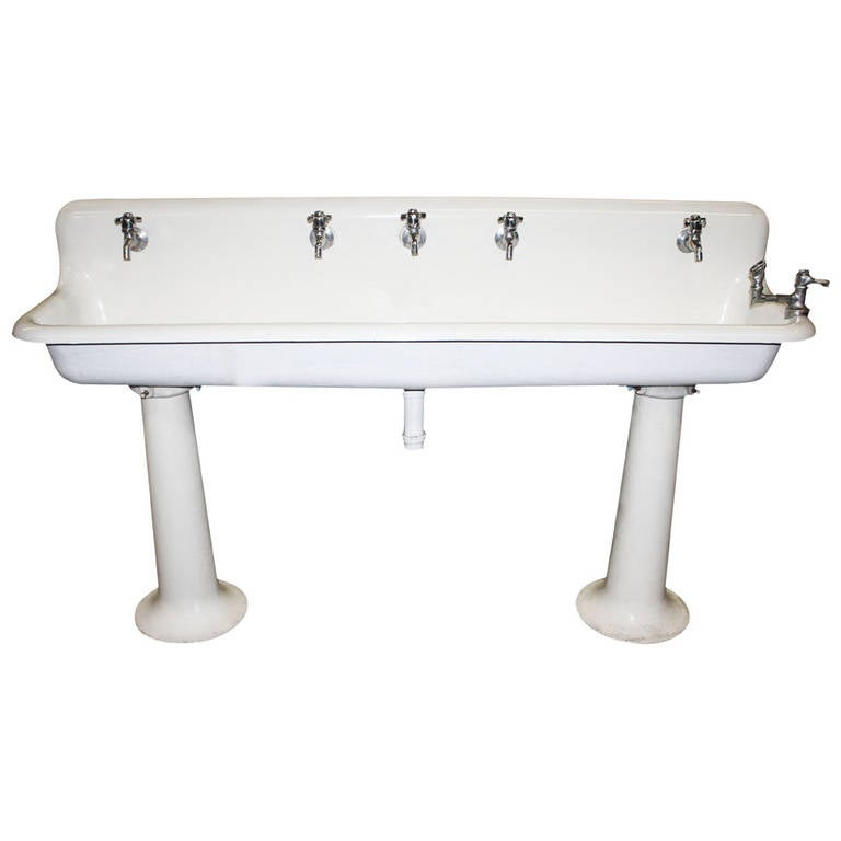 Industrial Porcelain Gang Sink on Pedestal Legs Without Hardware at ...