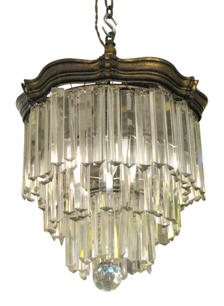 Art nouveau silver plated crystal chandelier at 1stdibs for Chandelier art nouveau