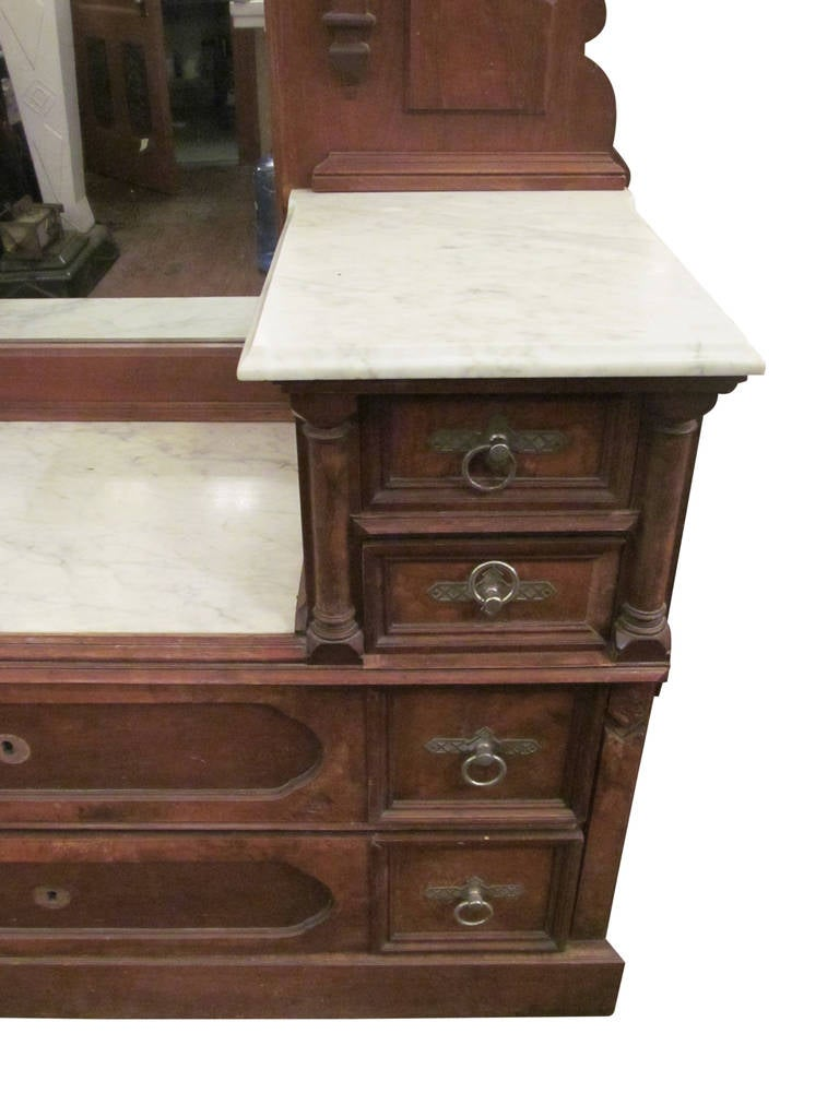 1890s Eastlake Carved Walnut Marble Top Vanity Dresser