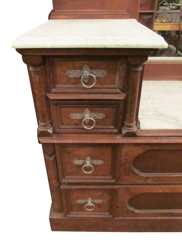 1890s Eastlake Carved Walnut Marble Top Vanity Dresser