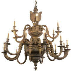 Massive Gilt Bronze American Baroque Style Chandelier from an NYC Building