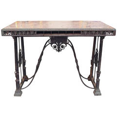 Bronze Ornate Bank Table with Marble Top
