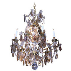 Baccarat Crystal, Original Doré Bronze Chandelier