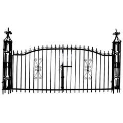 Antique Driveway Gates with Newel Posts
