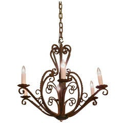 1950 French Country Wrought Iron Six-Arm Chandelier with Heart and Scroll Motif
