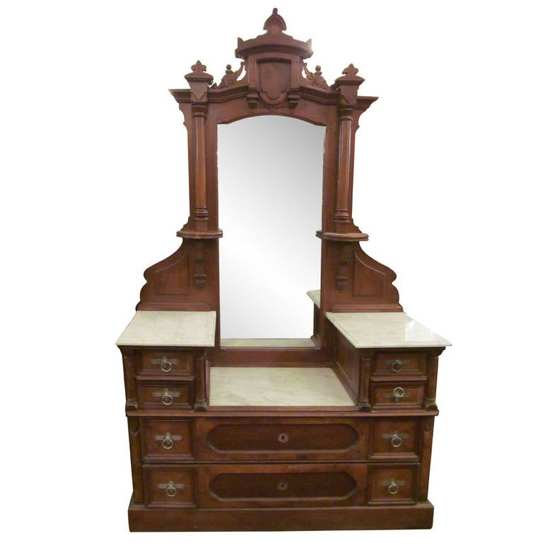 Eastlake Carved Walnut Marble Top Vanity Dresser At 1stdibs