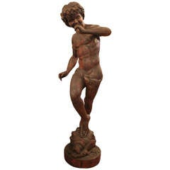 Wooden Sculpture of Dancing Young Man Playing the Flute
