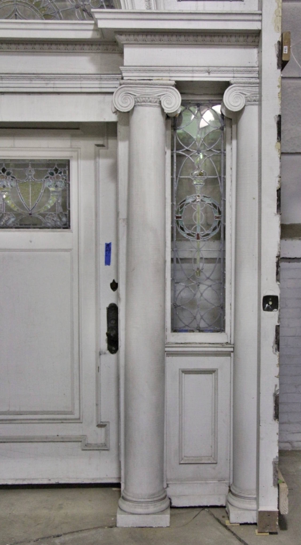 2313 #434565 Early 19th Century Federal Mansion Leaded Glass Door Entry At 1stdibs picture/photo Leaded Glass Exterior Doors 40291280