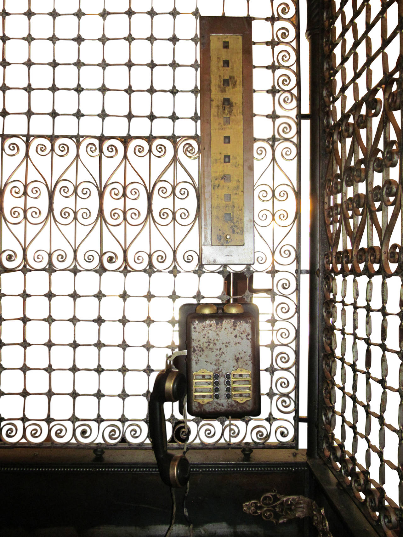 Antique Otis Birdcage Elevator With Original Hardware