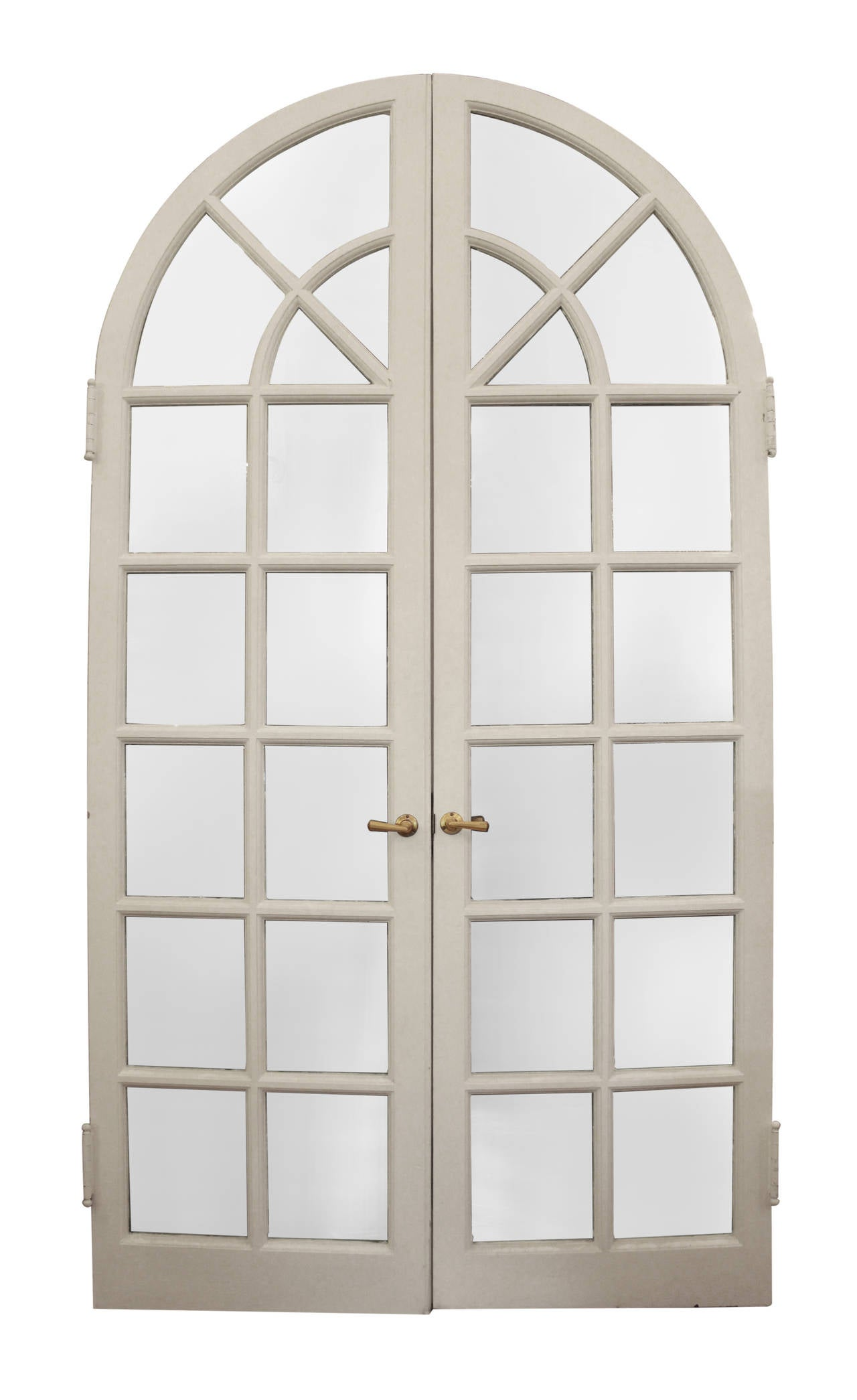 Wooden white arched french doors at 1stdibs for White french doors for sale