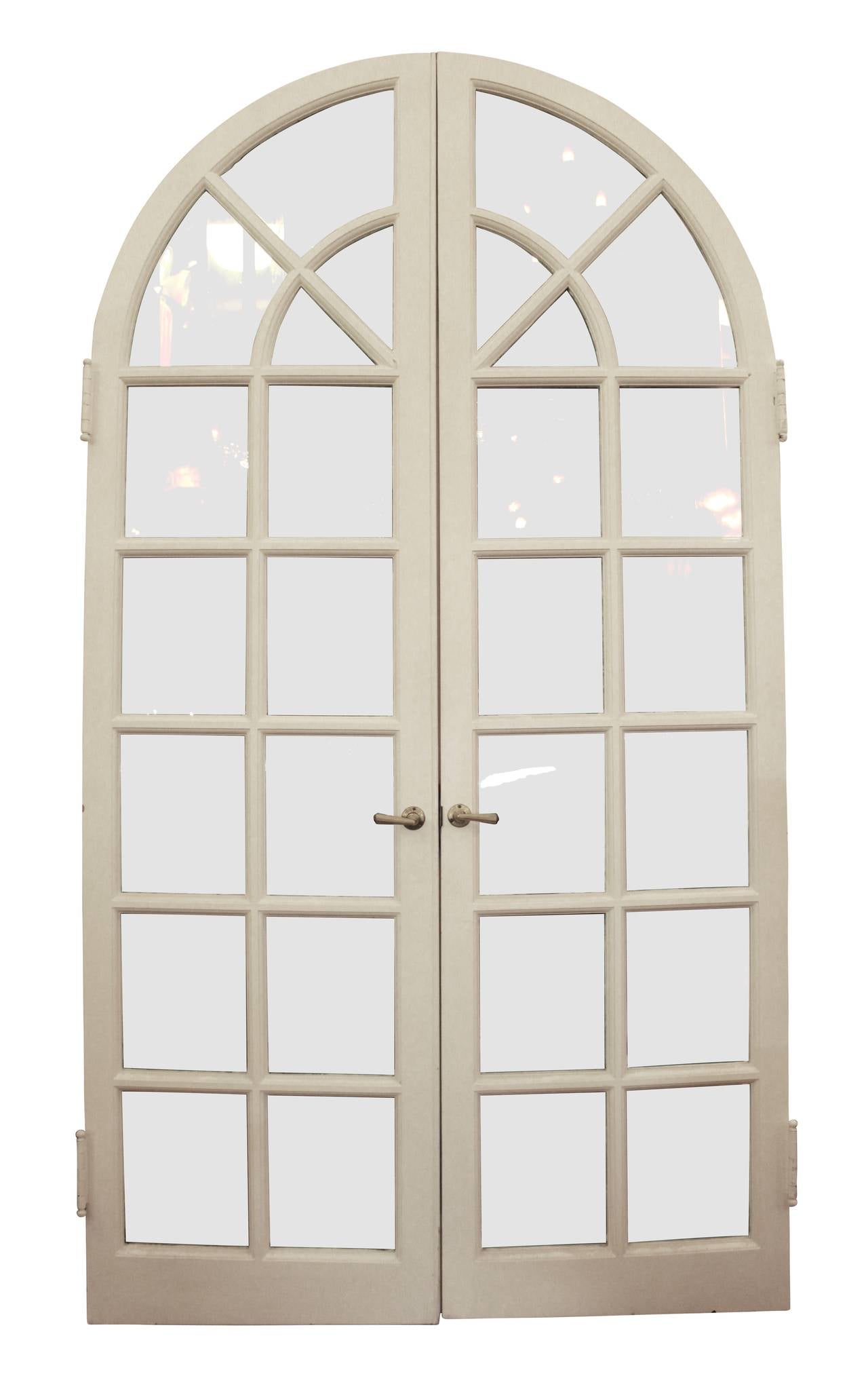 Wooden white arched french doors at 1stdibs for Wooden french doors