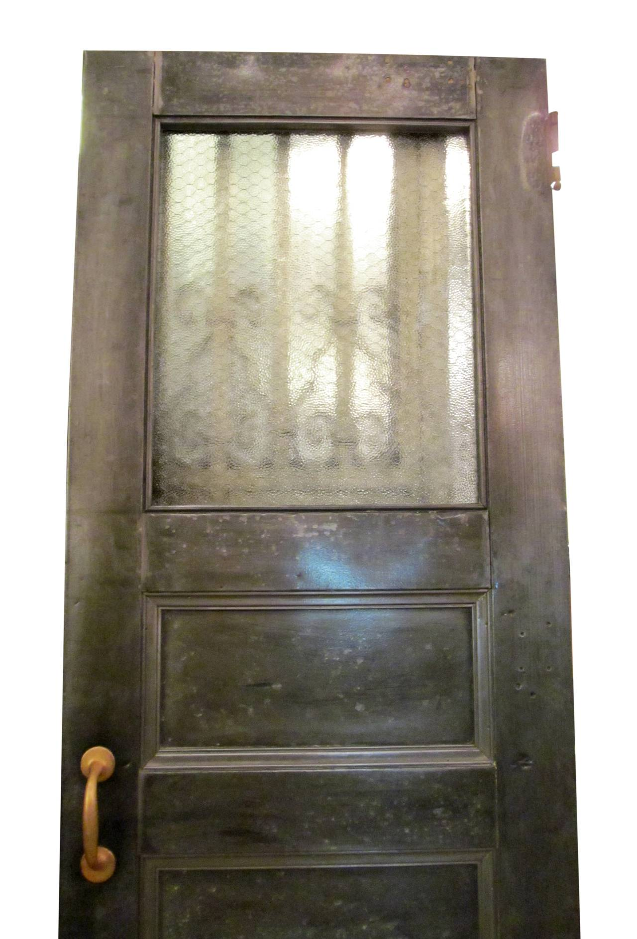 Salvaged Galvanized Double Doors with Chicken Wire Glass 2