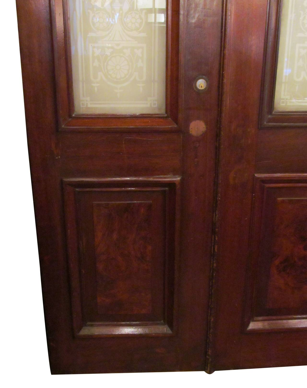 1930s pair of walnut doors with etched glass urn design for 1930s front door furniture