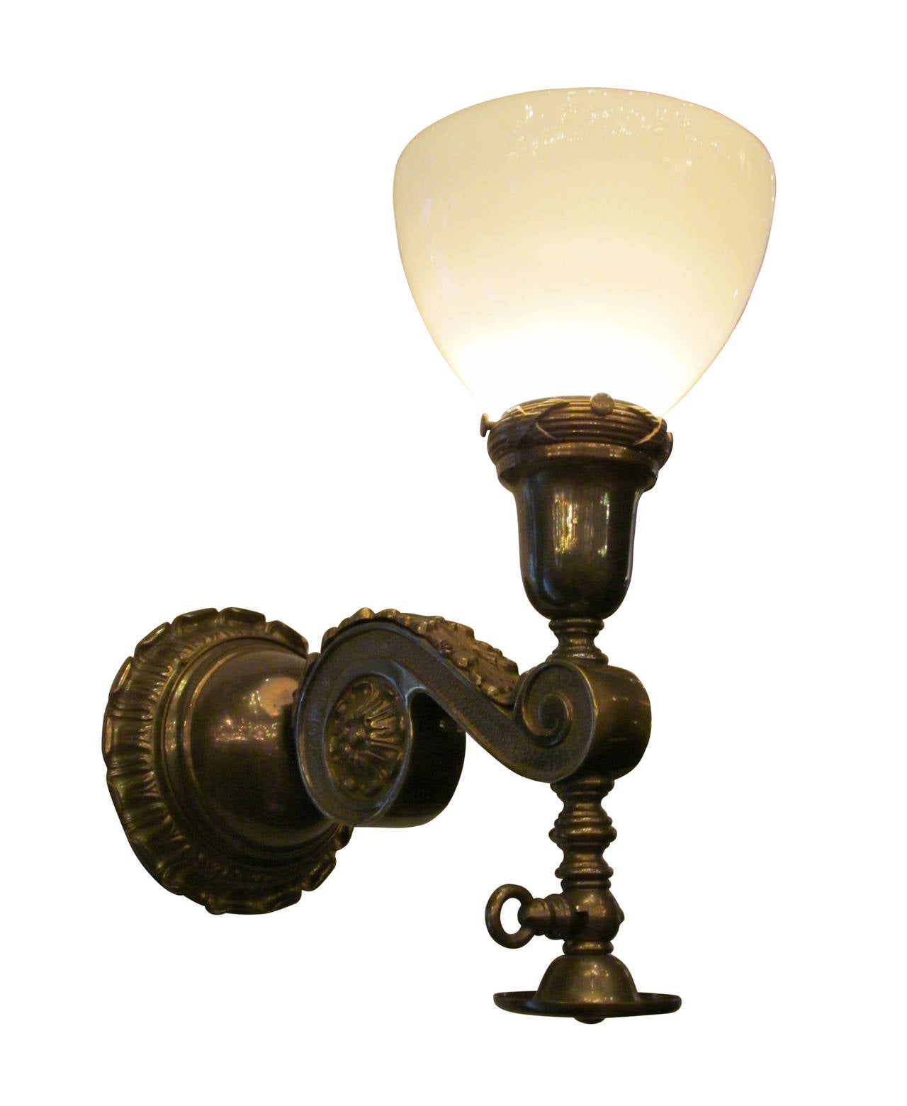 Pair of Milk Glass and Brass Gas Style Wall Sconces For Sale at 1stdibs