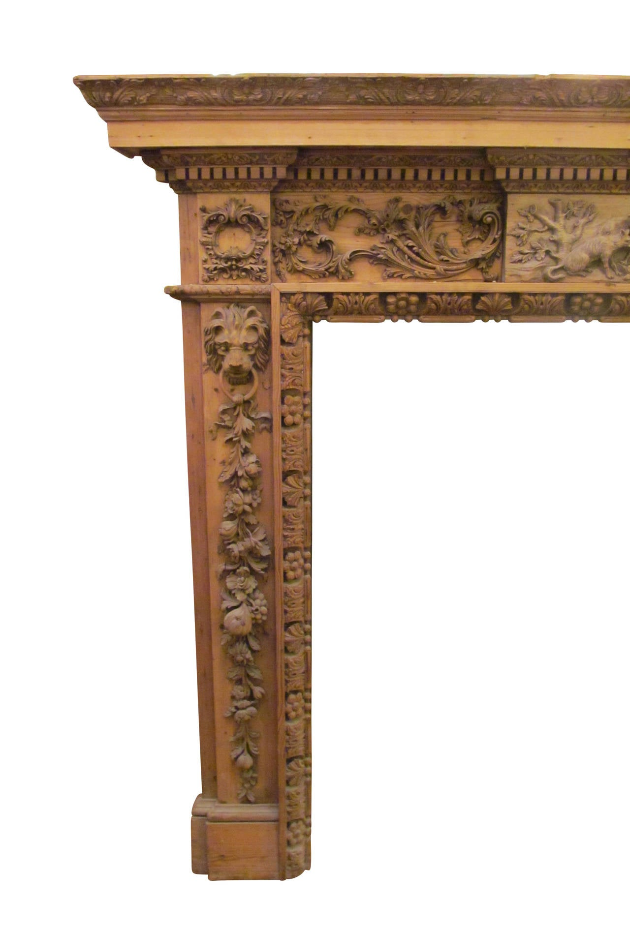 Heavily Hand Carved Wooden Mantel With Lions Wolves And
