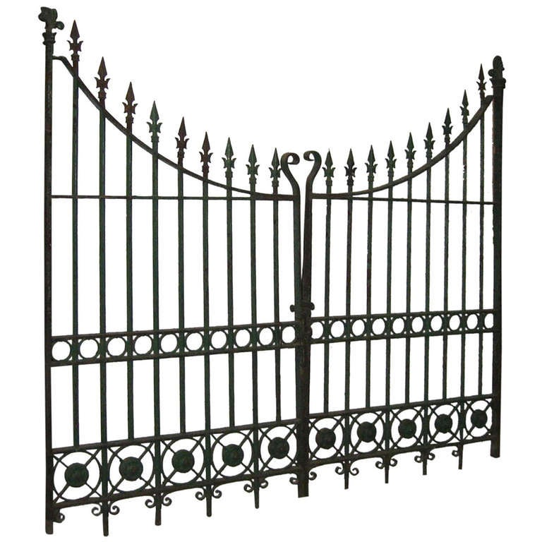 Pair of Wrought and Cast Iron Driveway Gates with French Arrow Finials 1