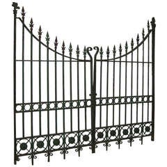 Pair of Wrought and Cast Iron Driveway Gates with French Arrow Finials