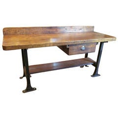 Late 1800s Industrial Work Bench with Original Hardware and Backsplash