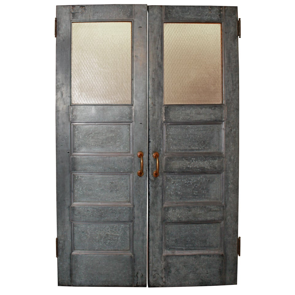 Salvaged galvanized double doors with chicken wire glass for Double glass doors