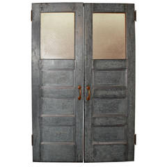 Salvaged Galvanized Double Doors with Chicken Wire Glass