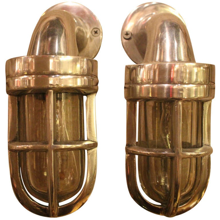 Nautical Candle Wall Sconces : Pair of Nautical Aluminum Bulkhead Ship Sconces at 1stdibs