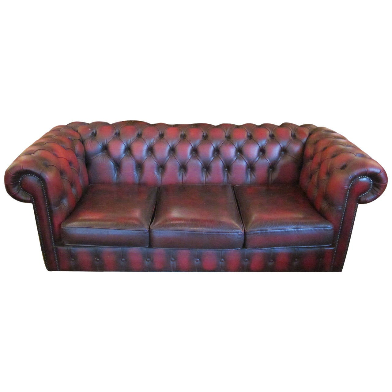 Vintage English Leather Chesterfield Sofa At 1stdibs