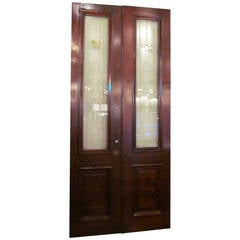 1930s Pair of Walnut Doors with Etched Glass Urn Design
