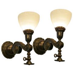 Pair of Milk Glass and Brass Gas Style Wall Sconces
