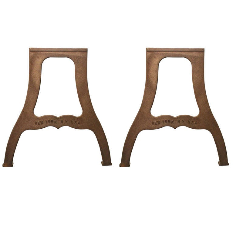 "Pair of Ductile Iron Industrial Table Legs with ""New York NY USA"" Lettering For Sale"