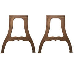 "Pair of Ductile Iron Industrial Table Legs with ""New York NY USA"" Lettering"